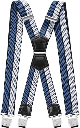 Decalen Mens Braces X Style Very Strong Clips Adjustable One Size Fits All Heavy Duty (Silver Black Blue)