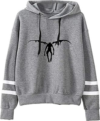 Haililais Death Note Pullover Pullover Sweatshirt Fashion Sweater Outerwear Adult Casual Sports Warm Wild Long Sleeve Men and Women Unisex (Color : Gray06, Size