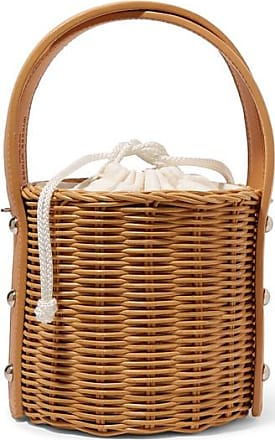 Wicker Wings Quan Rattan And Leather Bucket Bag - Brown