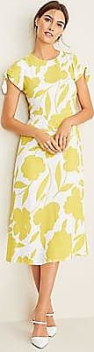 ANN TAYLOR Floral Tie Sleeve Flare Dress