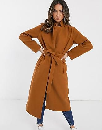 In The Style Emily Shak camel tie waist longline wool coat-Beige