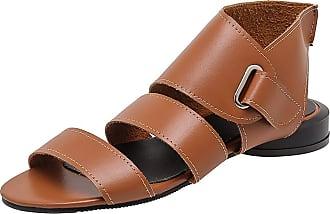 Mediffen Women Low Heels Comfort Open Toe Casual Gladiator Sandals Summer Vintage Roman Sandals Brown Size 43 Asian