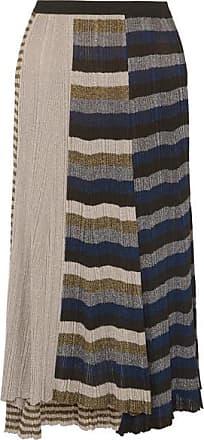 e9156fd5d8d Sonia Rykiel Metallic Striped Ribbed-knit Skirt - Gold
