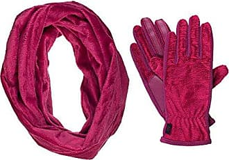 Isotoner Womens Fuzzy Teddy Touchscreen Texting Cold Weather Gloves and Infinity Scarf Set