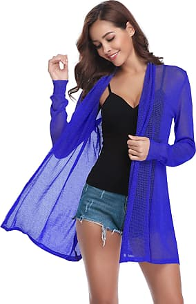 Abollria Cardigans for Women Summer Crochet Lightweight Waterfall Long Jacket Cardigan Bright Blue