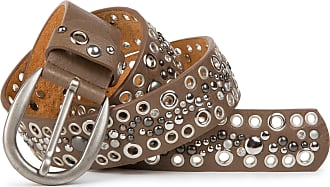 styleBREAKER studded belt with tubular rivets and rhinestones in vintage style, shortenable 03010026, size:95cm, color:Brown