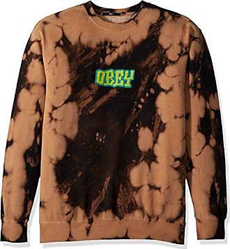 Obey Mens Better Days Tie Dye Crew Neck Sweatshirt, Black, M