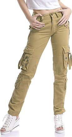 OCHENTA Women Workwear Uniform Combat Cargo 8 Pockets Security Trousers Khaki Lable 36-UK 15