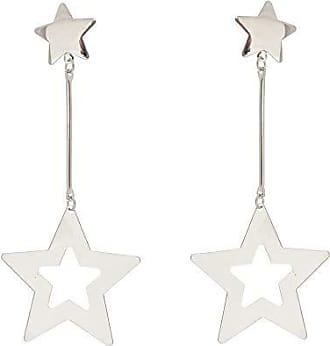 Kitbox Brinco com Estrelas Detalhes Vazados em Ouro Branco