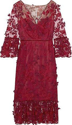 Marchesa Marchesa Notte Woman Embellished Velvet-trimmed Tulle Midi Dress Crimson Size 10