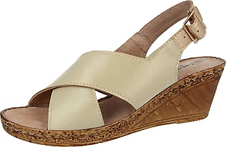 Cushion-Walk Ladies Leather Lined Wedge Peep Toe Strappy Summer Sandal Size 3-8 (5 UK, A03 Beige)