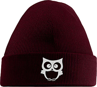 HippoWarehouse Owl Embroidered Beanie Hat Maroon