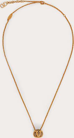 Valentino Garavani Valentino Garavani Vlogo Signature Metal And Crystal Necklace Women Gold/black Brass 100% OneSize