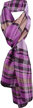 TigerTie Chiffon scarf in lila Lilac lachs gold striped - size 160 x 50 cm - neckcloth