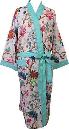 Powell Craft Pink Floral Cotton Ladies Dressing Gown With Blue Pom Pom Trim - cotton | one size | pink - Pink/Pink
