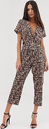 Unique21 Unique21 - Taillierter Jumpsuit mit Animalprint-Braun