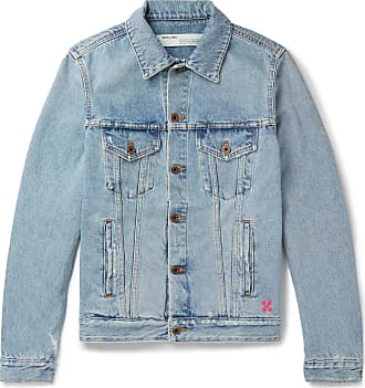 Off-white Slim-fit Logo-print Denim Jacket - Blue