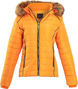 Shelikes Womens Faux Fur Hood Hooded Quilted Padded Long Sleeve Ladies Jacket Coat [Yellow 2XL]