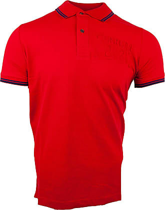 Cerruti 1881 Mens Cotton Polo Shirt with Short Sleeves and Border - Red - Medium