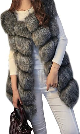 ZongSen Womens Faux Fur Vest Gilets Coat Jacket Sleeveless Long Waistcoat Black Fox XXL