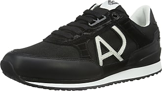 Armani Jeans Mens C651248 Low-Top Sneakers Black Size: 10.5 UK