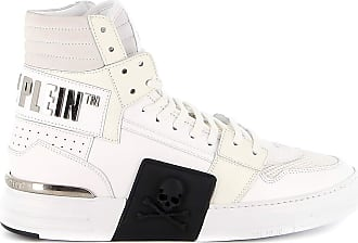 Philipp Plein Hi-Top Leather Sneakers, 41 White