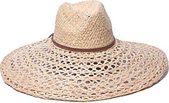 ále by Alessandra Womens Verona Large Brim Open Weave Raffia Hat With Leather Trim