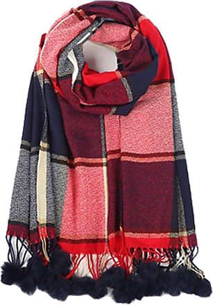 Your Dezire YDezire Warm Winter Women Check Tartan Pom Pom Scarf Large Shawl Tassels Ladies Scarf Wraps UK (Navy)