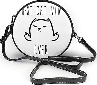 Turfed Best Cat Dad Ever Rude Cat Fashion Round PU Crossbody Handbag Round Shoulder Bag For Women Girls