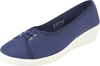 Spot On Ladies Lace Up Slip On Mid Wedge Heel - Navy Manmade - UK Size 7 - EU Size 40 - US Size 9