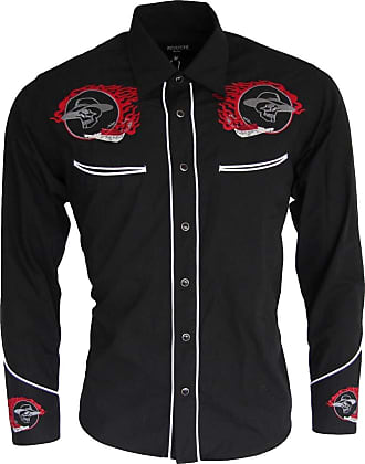 Relco Black Red Rockabilly Biker Western Cowboy Skull Flame Embroidered Shirt, Men, Black, XXX-Large