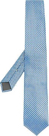 Canali Gravata de seda com estampa geométrica - Azul