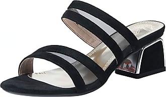 Mediffen Women Open Toe Slides Sandals Block Heels Fashion Mule Slippers Slip On Summer Ourdoor Slippers Casual Mules Sandals Black Size 35 Asian
