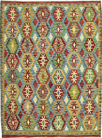 Nain Trading 193x151 Orientalischer Kelim Afghan Teppich Braun/Hellblau (Afghanistan, Wolle, Handgewebt)