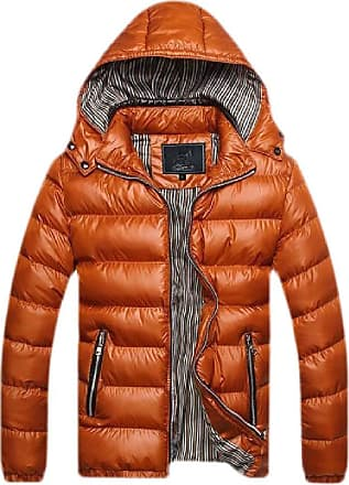 H&E Mens Winter Stand Collar Hooded Warm Puffer Parkas Coat Earth Yellow Small
