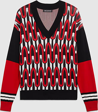 Neil Barrett Scribble Stripe Deep V-neck Techno Knit Jumper