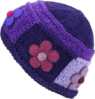 Loud Elephant Ladies Wool Knit Beanie Hat with Flower Patch Design - Purple