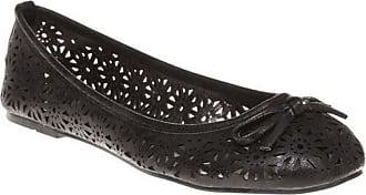 Spot On Ladies Spot On Slip On Ballerina Shoes F80037 - Black Synthetic - UK Size 3 - EU Size 36 - US Size 5