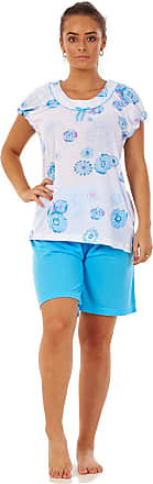 JD Williams Ladies Pyjama Set Short 100% Cotton Cap Sleeve Floral Crew Neck Loungewear S-3XL Turquoise