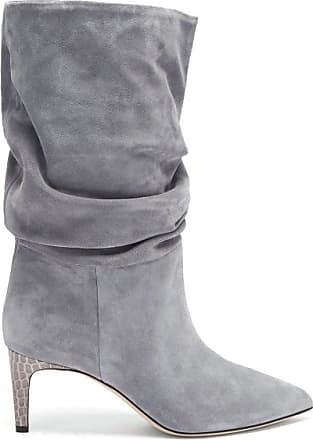 PARIS TEXAS Slouchy Python-effect Leather Ankle Boots - Womens - Grey