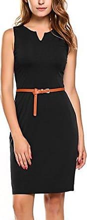 e3695440287b43 Zeagoo Damen Business Kleid Etuikleid Bleistiftkleid Sommerkleid Ärmellos  Knielang mit Gürtel Schwarz XXL