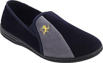 Zedzzz Mens Aaron Twin Gusset Velour Slippers (10 UK) (Navy Blue/Grey)