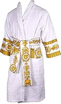 Satin Morgenmantel Weiß Peignoir Kimono Spitze Hausmantel Nacht-Robe  S//M  L//XL