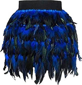 JERFER Women Christmas Santa Halloween Faux Feather A Line Cosplay Mini Skirt S-XL Skirt