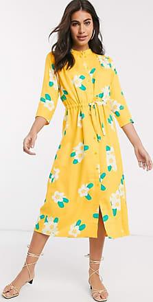 People Tree Robe mi-longue à fleurs-Jaune