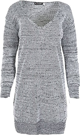 Womens Ladies Oversized Baggy Knitted Rip Destroyed Jumper Long Tunic Mini Dress