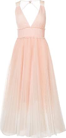 Marchesa pleated flared dress - Neutrals