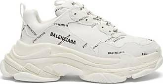 Balenciaga Triple S Logo-print Leather Trainers - Womens - White