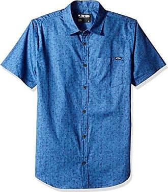 Zoo York Mens Short Sleeve Woven, Ancient Tetris Antique/Blue Large