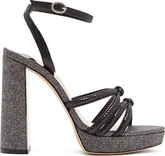 Sophia Webster Freya Suede And Glitter Platform Sandals - Womens - Black